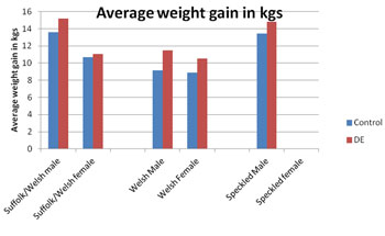 Weight gain of weaned lambs in control + DE group